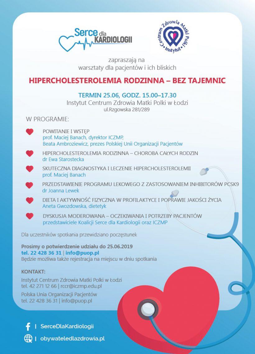 Hipercholesterolemia rodzinna bez tajemnic warsztaty w Łodzi Koalicja Serce dla kardiologii